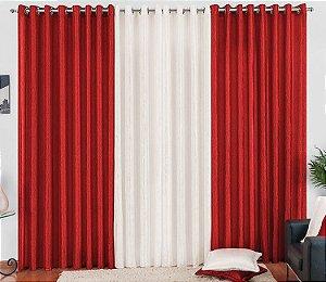 Cortina Cetim Amassado Vermelha Palha para Sala 3 metros Varão Simples Any