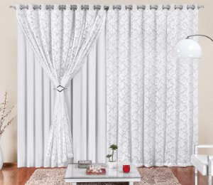Cortina Malha com Renda Branca para Sala 4 metros Varão Simples Yasmin