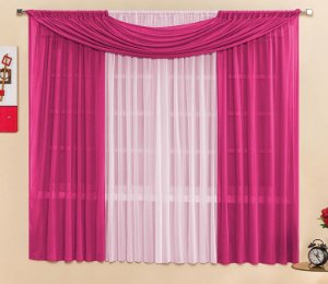 Cortina Malha Pink para Quarto 3 metros Varão Simples Manu