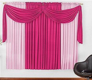 Cortina Malha Pink para Quarto 3 metros Varão Simples Iza