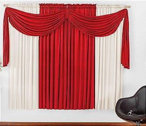 Cortina Malha Vermelha para Quarto 4 metros Varão Simples Iza