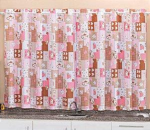 Cortina Rosa para Cozinha 2 metros Varão Simples Oxford