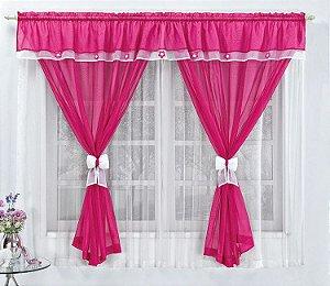 Cortina Infantil Pink 2 metros Varão Simples Vitória