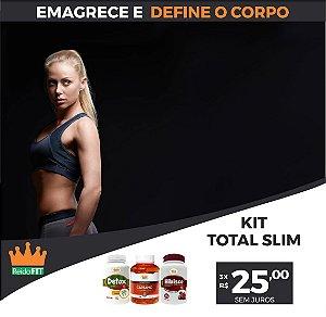 Kit Emagrecedor Total Slim® Detox Life + Hibisco + Cártamo c/ Vitamina E - Emagrece e Define o Corpo - 180 Cápsulas 🔥