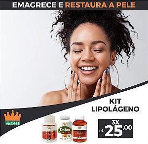 Kit Emagrecedor Lipolágeno® Detox Life + Colágeno + Cártamo c/ Vitamina E - Emagrece e Restaura a Pele - 3 Potes c/ 180 Cápsulas 🔥