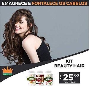 Kit Emagrecedor Beauty Hair® Detox Life + Belly Hair + Café Verde - Emagrece e Fortalece os Cabelos e Unhas - 180 Cápsulas 🔥