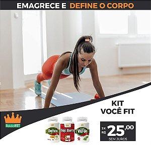 Kit Emagrecedor Você FIT® Detox Life + Goji Berry + Café Verde - Emagrece, Combate e Transforma - 3 Potes c/ 180 Cápsulas 🔥