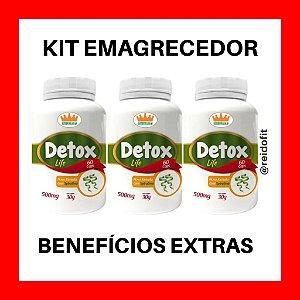 Kit Emagrecedor Detox Life 500mg c/ 6 Benefícios Extras - Tratamento Completo p/ 3 Meses 🔥