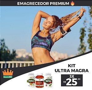 Kit Emagrecedor Ultra Magra® Detox Life + Café Verde + Cártamo c/ Vitamina E - Emagrece e Revitaliza o Corpo - 180 Cápsulas 🔥
