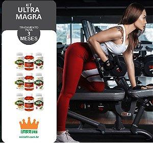 Kit Emagrecedor Ultra Magra® Tratamento Completo de 3 Meses c/ 3 Detox + 3 Cafés Verdes + 3 Cártamos - 9 Potes c/ 540 Cápsulas - Incluso Kit Fitness + Frete Pago 🚚🎁