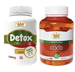Detox Life 500mg + Óleo de Coco 1000mg c/ 120 Cápsulas