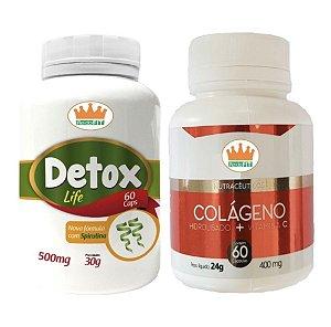 Detox Life 500mg + Colágeno Hidrolisado 400mg e Vit C c/ 120 Cápsulas