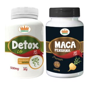 Detox Life 500mg + Maca Peruana 550mg c/ 120 Cápsulas