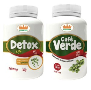 Kit Emagrecedor Termogênico® Detox + Café Verde - 2 Potes c/ 120 Cápsulas 🔥