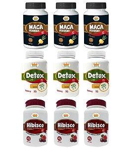 Emagrecedor Magra Plus® Você Magra em 3 Meses c/ 3 Detox + 3 Macas Peruanas + 3 Hibiscos - 9 Potes c/ 540 Cápsulas 🔥