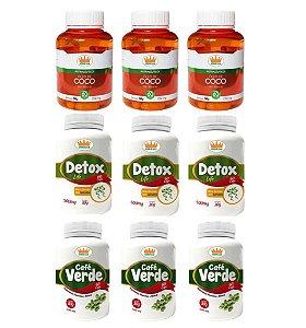 Emagrecedor Termogênico Premium® Você Magra em 3 Meses c/ 3 Detox + 3 Cafés Verdes + 3 Cocos - 9 Potes c/ 540 Cápsulas 🔥