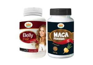 Belly Hair 500mg + Maca Peruana 550mg c/ 120 Cápsulas