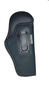 Coldre Velado Cintura em Couro Interno c/ Gancho Universal Pistolas e Revólveres