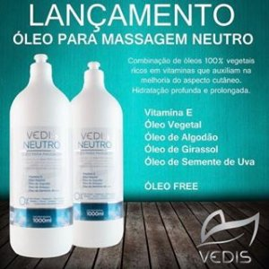Óleo 100% Vegetal para Massagem Sem Aroma Vedis 1L