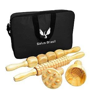 Kit De Maderoterapia Para Massagem Com Bolsa 4 Itens Salus
