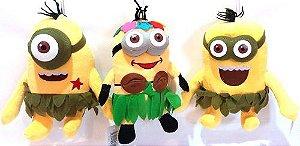 kit 3 Pelúcia Minions Havaiano musical