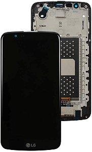 TELA FRONTAL DISPLAY LCD LG K10 TV K430tv K420n C/ ARO VERSÃO SEM ESCRITA / CI - PRETO