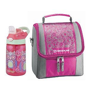 Combo Infantil Bolsa Rosa Termolar+Garrafa Contigo 414ml