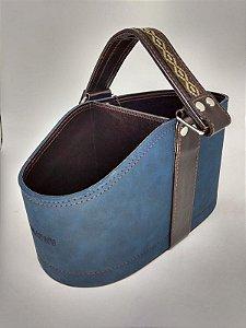 Porta Cuia e Térmica Nobuck Azul Lincoln's