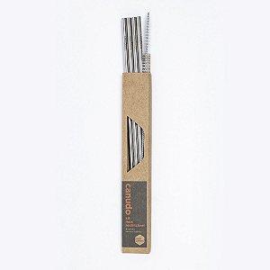 Kit com 4 Canudos Reto de Inox + Porta Canudo Beegreen