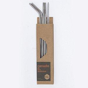 Kit 4 Canudos de Inox Misto + Porta Canudo Beegreen