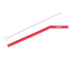 Canudo de Silicone Reutilizável Vermelho Silicup 16cm