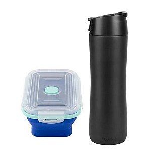 Combo Garrafa Flip Sip 473ml Aladdin+Pote Retrátil Yuze Azul