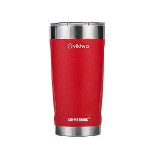 Copo Térmico Duo Simple Drink 540ml Vermelho Viktwa