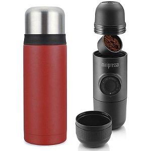 Combo Garrafa Térmic. Viktwa 750ml + Cafeteira Minipresso GR