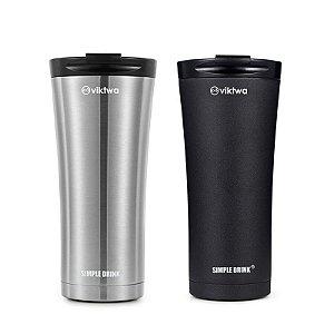 Combo 2 Copos Térm Long Simple Drink 500ml Preto/Inox Viktwa