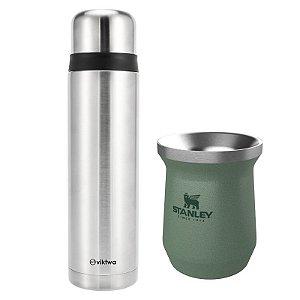 Combo Garrafa Térmica Inquebrável 1 Litro Viktwa e Cuia Verde Stanley