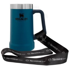 Combo Térmica Beer  - Caneca Azul 709ml Stanley e Cordão Tirante