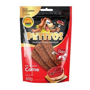 Petisco Petitos Bifinho Carne 60g Snack Super Premium Cães
