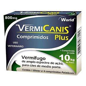 Vermífugo Para Cães Vermicanis Plus 800mg 4 Comprimidos