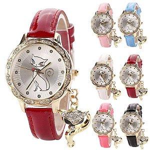 Relógio feminino com fundo de gatinha e pingente