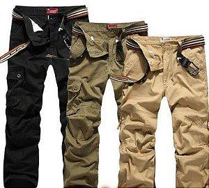 kit 5 calças cargo preta 6 bolsos em brim