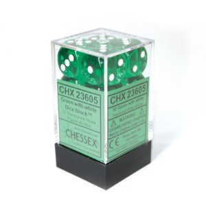 Bloco de D6 (12) - Verde Translúcido - 16mm