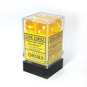 Bloco de D6 (12) - Amarelo Translúcido - 16mm