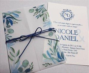 Convite de Casamento com impressão no vegetal