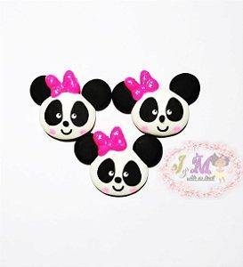 Aplique Urso Panda de biscuit para Laços Rosa