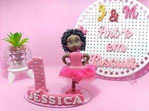 Topo de bolo - Bailarina negra de biscuit saia rosa