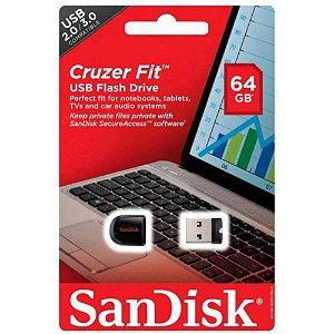 Pen Drive SANDISK Cruzer Fit SDCZ33-064G-B35 64GB