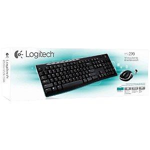 Teclado e Mouse Logitech MK270 Sem Fio Multimídia Preto ABNT2