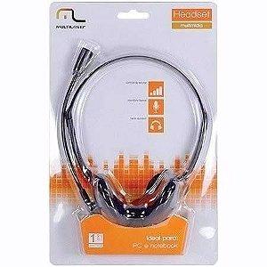 Headset Multilaser com Microfone P2 Multimídia Preto - PH002