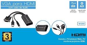 Conversor VGA c/ áudio p/ HDMI Multilaser WI280